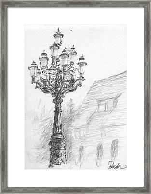Antique Lampost Framed Print by Horacio Prada
