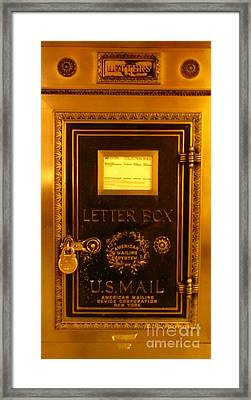 Antique Letter Box At The Brown Palace Hotel Framed Print by John Malone