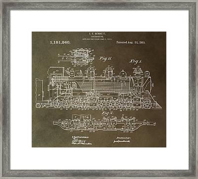 Antique Locomotive Patent Framed Print
