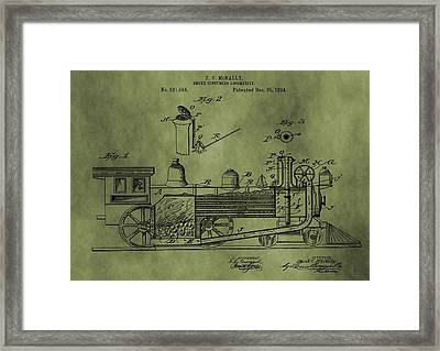 Antique Locomotive Train Patent Framed Print by Dan Sproul