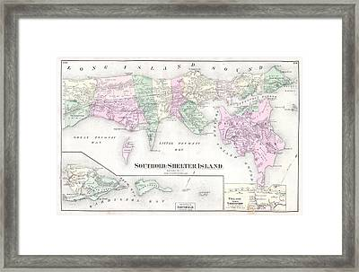 Antique Long Island Map Framed Print