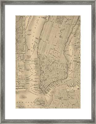 Antique Manhattan Map Framed Print