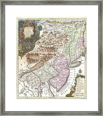 Antique Map 1756 Pennsylvania New York New Jersey Framed Print