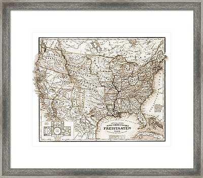 Antique Map 1853 United States Of America Framed Print by Dan Sproul