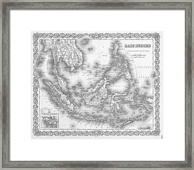 Antique Map 1855 East Indies Framed Print