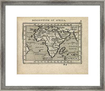 Antique Map Of Africa By Abraham Ortelius - 1603 Framed Print