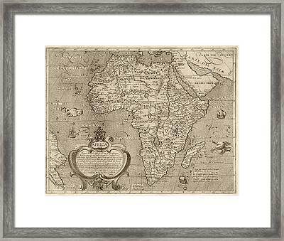 Antique Map Of Africa By Arnoldo Di Arnoldi - Circa 1600 Framed Print