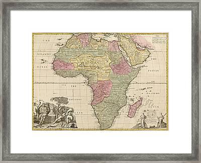 Antique Map Of Africa By John Senex - Circa 1725 Framed Print