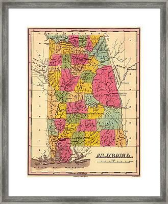 Antique Map Of Alabama 1833 Framed Print
