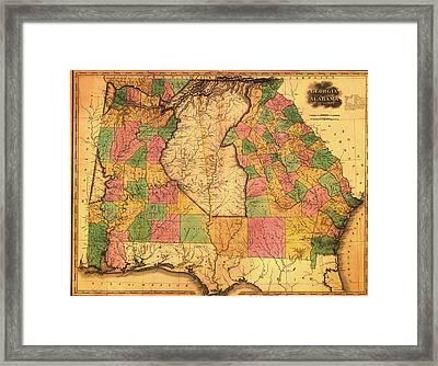 Antique Map Of Alabama And Georgia 1823 Framed Print