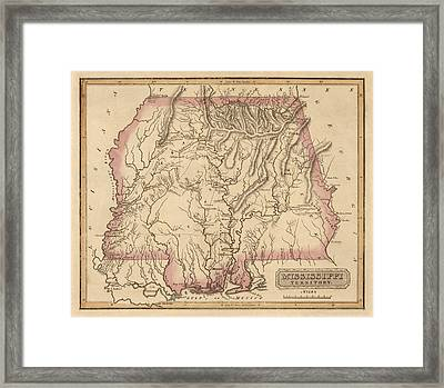 Antique Map Of Alabama And Mississippi By Fielding Lucas - Circa 1817 Framed Print