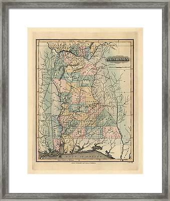 Antique Map Of Alabama By Fielding Lucas - 1826 Framed Print by Blue Monocle