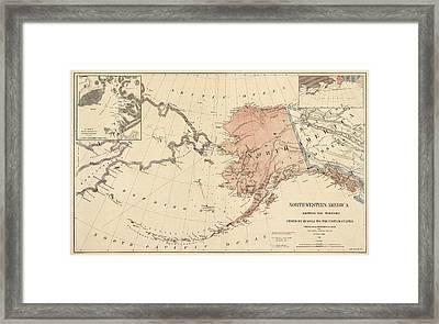 Antique Map Of Alaska - 1867 Framed Print by Blue Monocle