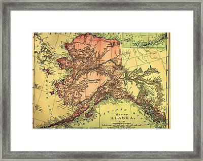 Antique Map Of Alaska 1895 Framed Print by Mountain Dreams