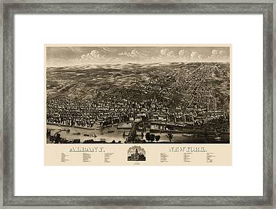 Antique Map Of Albany New York By H.h. Rowley And Co. - 1879 Framed Print by Blue Monocle