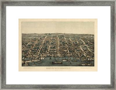 Antique Map Of Alexandria Virginia By Charles Magnus - 1863 Framed Print