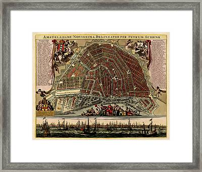 Antique Map Of Amsterdam By Pieter Schenk - Circa 1702 Framed Print by Blue Monocle