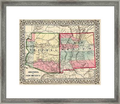 Antique Map Of Arizona And New Mexico By Samuel Augustus Mitchell - 1867 Framed Print