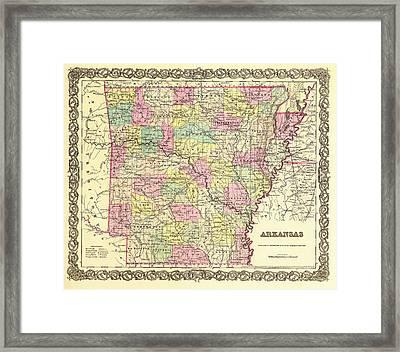 Antique Map Of Arkansas 1855 Framed Print