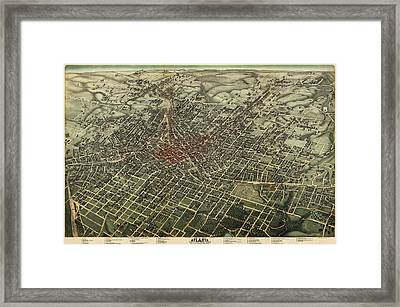 Antique Map Of Atlanta Georgia By Augustus Koch - 1892 Framed Print