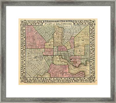 Antique Map Of Baltimore 1867 Framed Print by Mountain Dreams