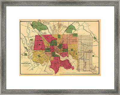 Antique Map Of Baltimore 1873 Framed Print by Mountain Dreams