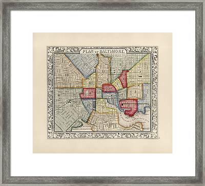 Antique Map Of Baltimore Maryland By Samuel Augustus Mitchell - 1863 Framed Print by Blue Monocle