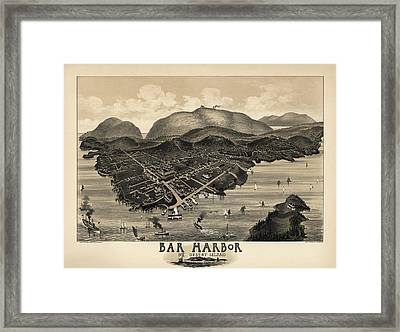 Antique Map Of Bar Harbor Maine By G. W. Morris - 1886 Framed Print by Blue Monocle