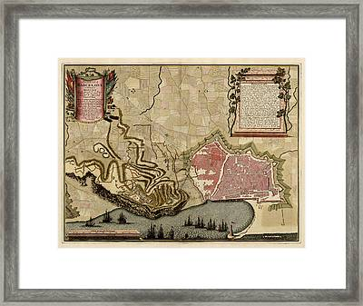 Antique Map Of Barcelona Spain By Anna Beeck - Circa 1706 Framed Print