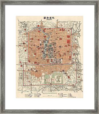 Antique Map Of Beijing China - 1914 Framed Print by Blue Monocle