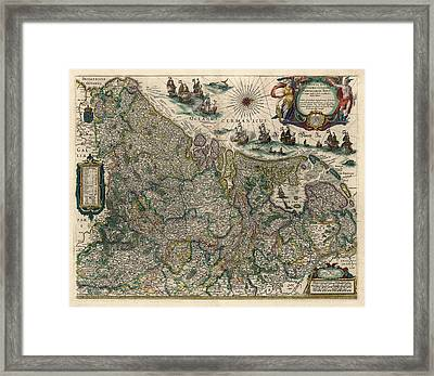 Framed Print featuring the drawing Antique Map Of Belgium And The Netherlands By Willem Janszoon Blaeu - 1647 by Blue Monocle