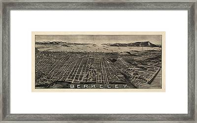 Antique Map Of Berkeley California By Charles Green - Circa 1909 Framed Print by Blue Monocle