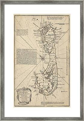 Antique Map Of Bermuda By Emanuel Bowen - 1750 Framed Print by Blue Monocle