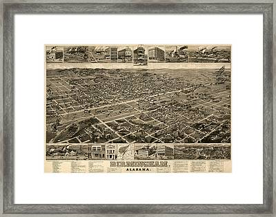 Antique Map Of Birmingham Alabama By H. Wellge - Circa 1885 Framed Print by Blue Monocle