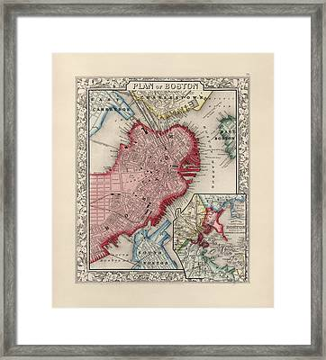 Antique Map Of Boston Massachusetts By Samuel Augustus Mitchell - 1863 Framed Print by Blue Monocle