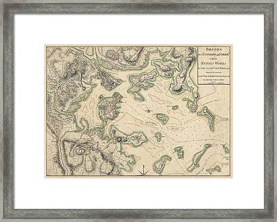 Antique Map Of Boston Massachusetts By Thomas Hyde Page - Circa 1775 Framed Print by Blue Monocle
