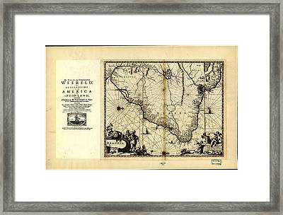 Antique Map Of Brazil 1671 Framed Print by Celestial Images