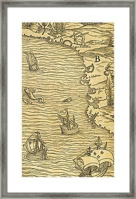 Antique Map Of Brazilian Coast Framed Print by Giovanni Battista Ramusio