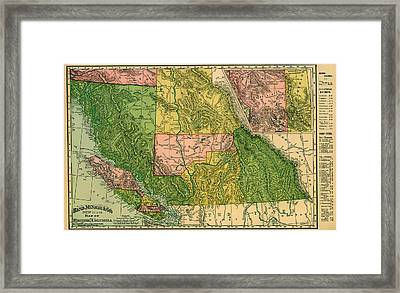Antique Map Of British Columbia 1896 Framed Print