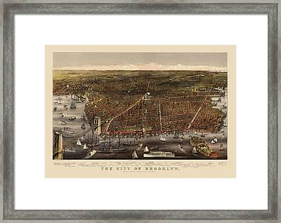 Antique Map Of Brooklyn By Currier And Ives - Circa 1879 Framed Print