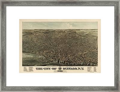 Antique Map Of Buffalo New York By Edward Howard Hutchinson - 1880 Framed Print