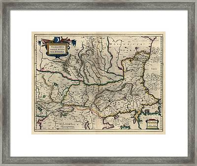 Antique Map Of Bulgaria Romania And Serbia By Willem Janszoon Blaeu - 1647 Framed Print by Blue Monocle