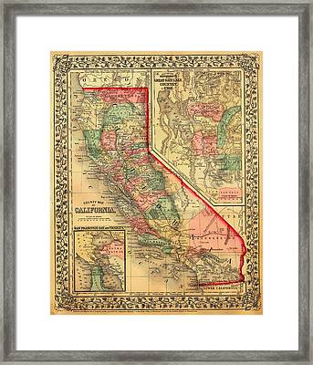 Antique Map Of California 1867 Framed Print by Mountain Dreams