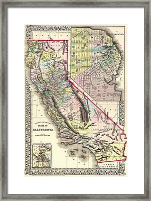 Antique Map Of California And San Francisco 1772 Framed Print by Mountain Dreams