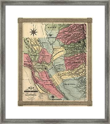 Antique Map Of California By William A. Jackson - 1851 Framed Print
