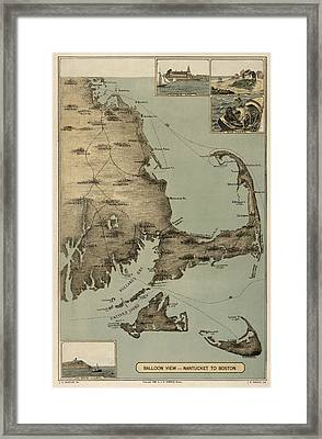 Antique Map Of Cape Cod Massachusetts By J. H. Wheeler - 1885 Framed Print by Blue Monocle