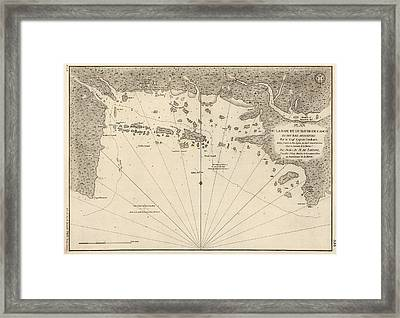 Antique Map Of Casco Bay And Portland Maine By Cyprian Southack - 1779 Framed Print by Blue Monocle