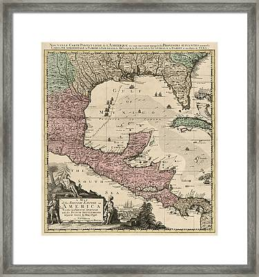 Antique Map Of Central America By Henry Popple - Circa 1733 Framed Print by Blue Monocle