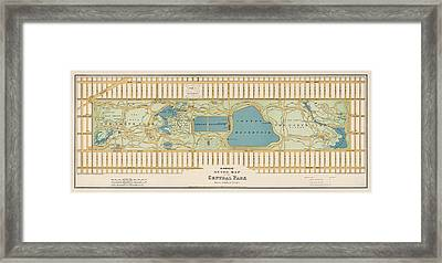 Antique Map Of Central Park New York City By Oscar Hinrichs - 1875 Framed Print