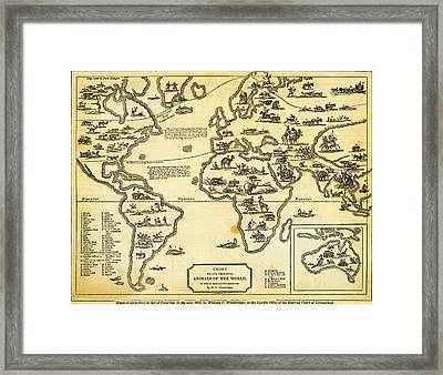 Antique Map Of  Chart Of Principal Animals Of The World 1831 Framed Print